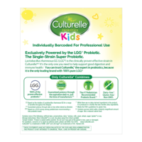 Back of Culturelle® Kids Purely Probiotic Packets Hospital Pack Box