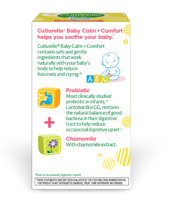Back of culturelle baby calm and comfort product box