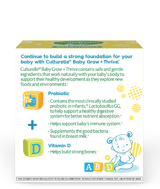 Back of culturelle baby grow and thrive packets product box