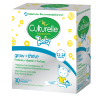 Right side of Culturelle baby grow and thrive packets product box