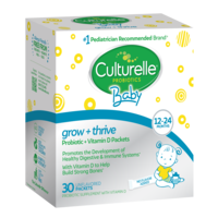 Left side of Culturelle baby grow and thrive packets product box