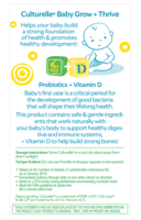 Back of culturelle baby grow and thrive drops product box