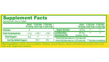 Supplemental Facts for Culturelle® Probiotics Kids Chewables Box
