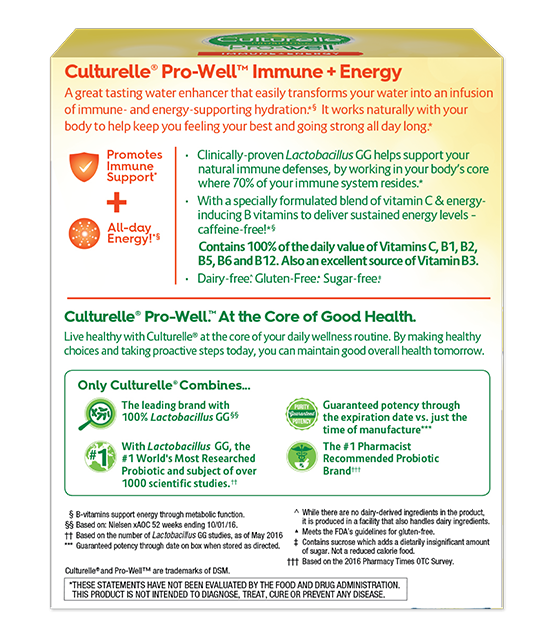 Back of Culturelle® Pro-Well Immune + Energy Box
